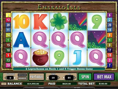 Casino Luck featuring the Video Slots Emerald Isle with a maximum payout of $12,000