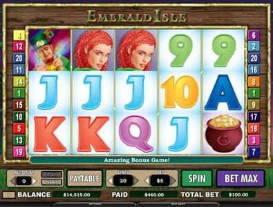 Vegas Winner featuring the Video Slots Emerald Isle with a maximum payout of $12,000