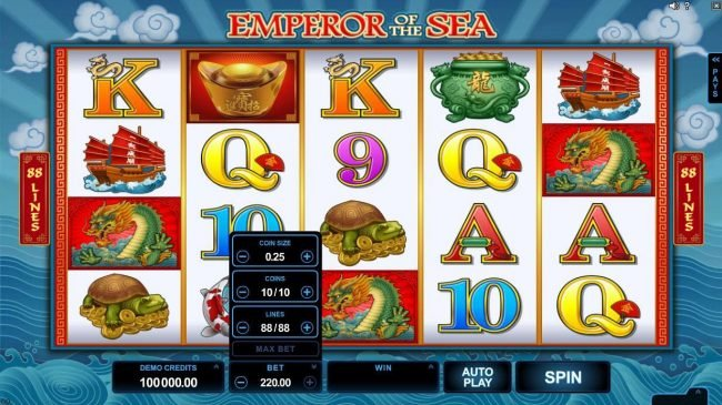 Play slots at Rizk: Rizk featuring the Video Slots Emperor of the Sea with a maximum payout of $412,500