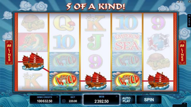 Lucky Emperor featuring the Video Slots Emperor of the Sea with a maximum payout of $412,500