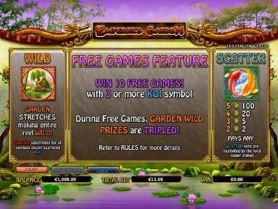 wild symbol, scatter symbol and free games feature paytable