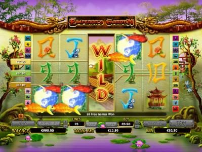 Jackpot City featuring the Video Slots Emperor's Garden with a maximum payout of $10,000