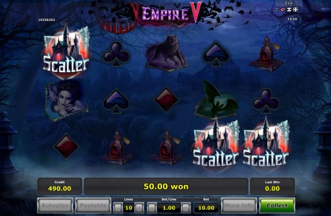 Empire V :: Scatter win triggers the free spins feature