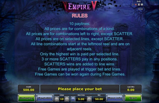Empire V :: General Game Rules