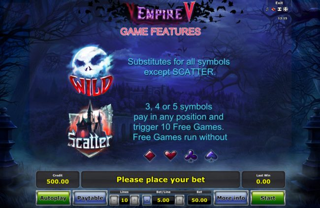 Empire V :: Wild and Scatter Symbol Rules