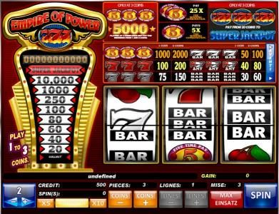 Play slots at Kings Chance: Kings Chance featuring the Video Slots Empire of Power 7s with a maximum payout of Jackpot