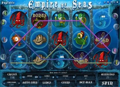 Play slots at Wicked Bet: Wicked Bet featuring the Video Slots Empire of Seas with a maximum payout of $15,000