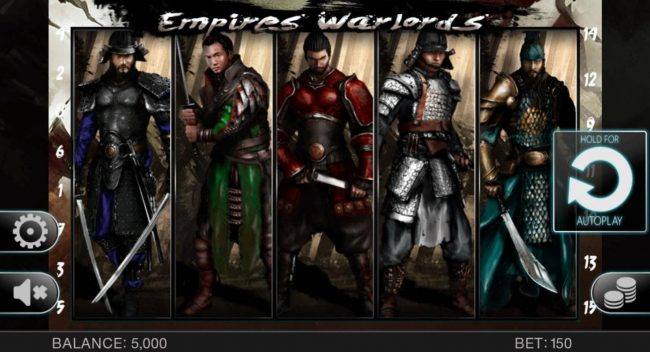 Empires Warlords :: Main game board featuring five reels and 15 paylines with a $10,000 max payout.