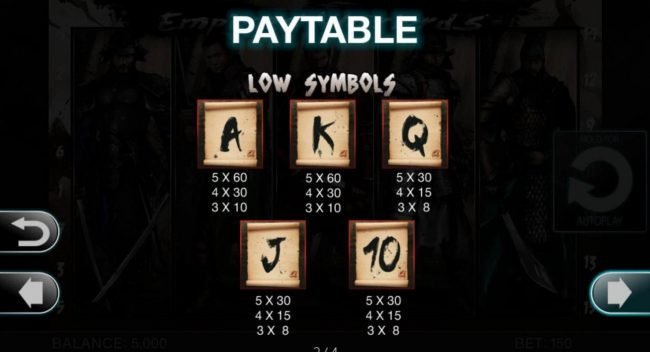 Empires Warlords :: Low value game symbols paytable.