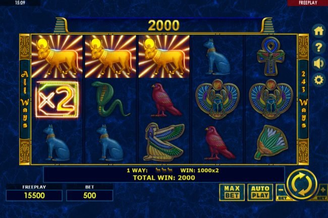 Yeti Casino featuring the Video Slots Enchanted Cleopatra with a maximum payout of $500,000