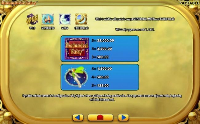 High value slot game symbols paytable - symbols include: Enchanted Fairy logo and a fairy