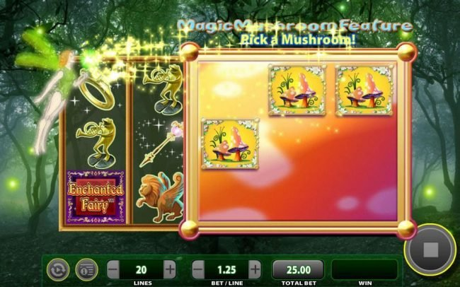 Vegas Spins featuring the Video Slots Enchanted Fairy with a maximum payout of $25,000