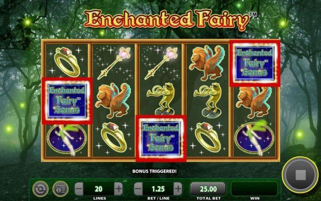 Enchanted fairy Bonus triggered by three scattered bonus symbols.