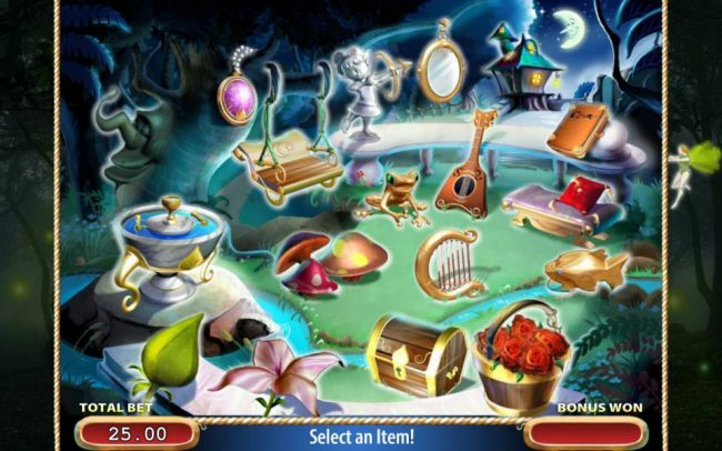 Select items to reveal monetary prize awards. Revealing the fairy ends bonus game play.