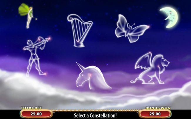 Enchanted Fairy Bonus continues with a second pick feature. Select a constellation to reveal a monetary prize award.