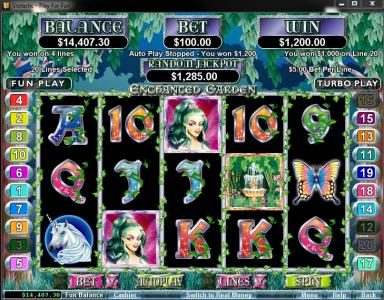 Roaring 21 featuring the Video Slots Enchanted Garden with a maximum payout of $250,000