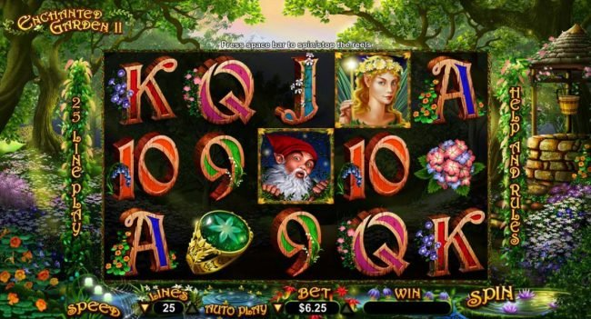 Royal Ace featuring the Video Slots Enchanted Garden II with a maximum payout of $12,500
