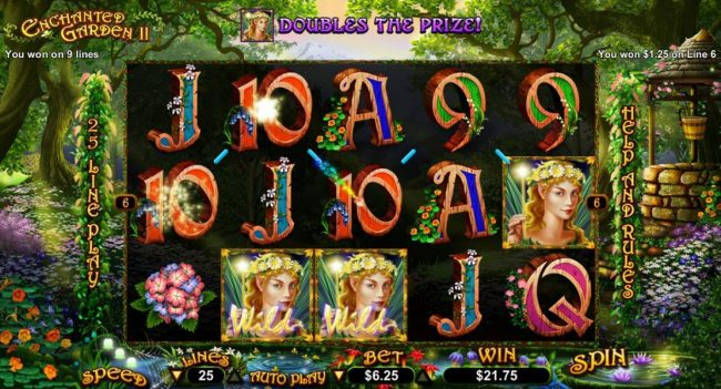 Roaring 21 featuring the Video Slots Enchanted Garden II with a maximum payout of $12,500