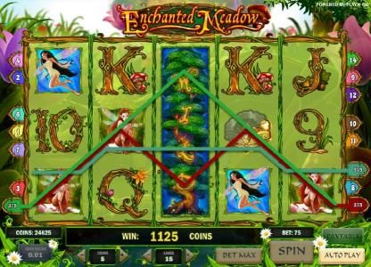 expanded wild symbol triggers an 1125 coin big win payout