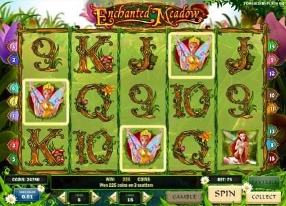 three scatter symbols triggers a 225 coin jackpot