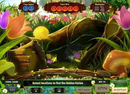 bonus game board - find the hidden fairies to reveal a prize. watch out for the bee though.