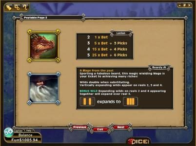 3Dice featuring the Video Slots Enchanted Spins with a maximum payout of 1000 coins