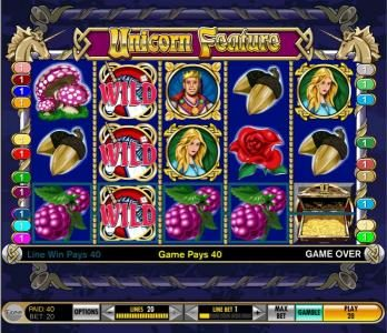 Zinger Spins featuring the Video Slots Enchanted Unicorn with a maximum payout of $10,000