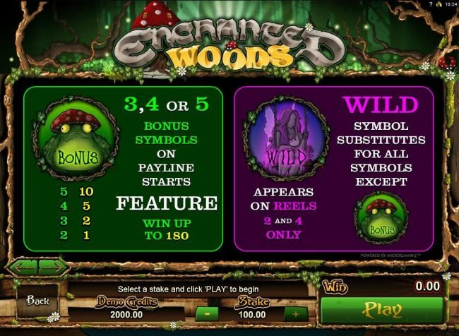 Reel Vegas featuring the Video Slots Enchanted Woods with a maximum payout of $18,000
