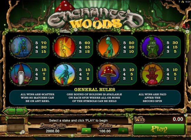 Lucky Dino featuring the Video Slots Enchanted Woods with a maximum payout of $18,000