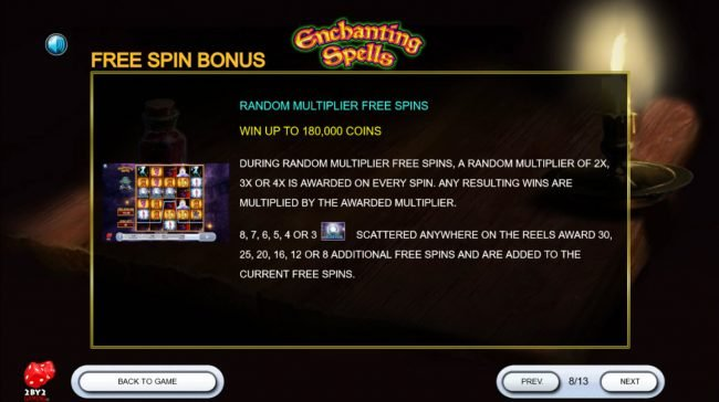 7Bit featuring the Video Slots Enchanting Spells with a maximum payout of $180,000