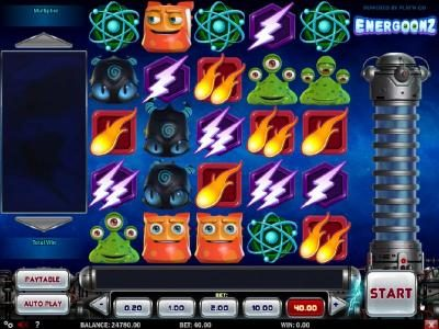 Play 24 Bet featuring the Video Slots Energoonz with a maximum payout of $40,000