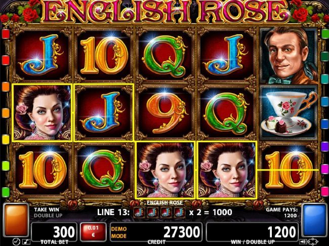 Powerspins featuring the Video Slots English Rose with a maximum payout of $500,000