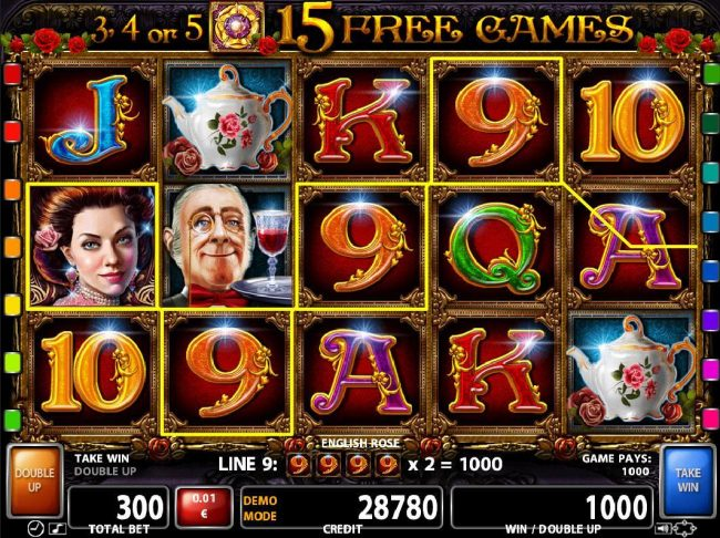 Videoslots featuring the Video Slots English Rose with a maximum payout of $500,000