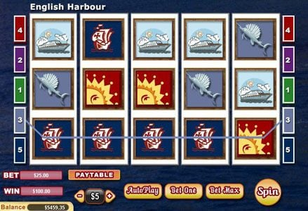 Miami Club featuring the Video Slots English Harbour with a maximum payout of $100,000
