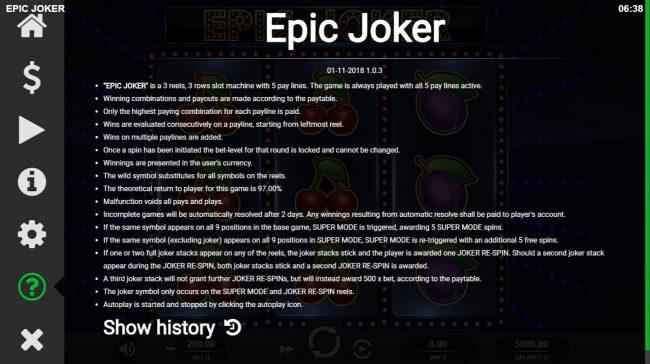 Epic Joker :: General Game Rules