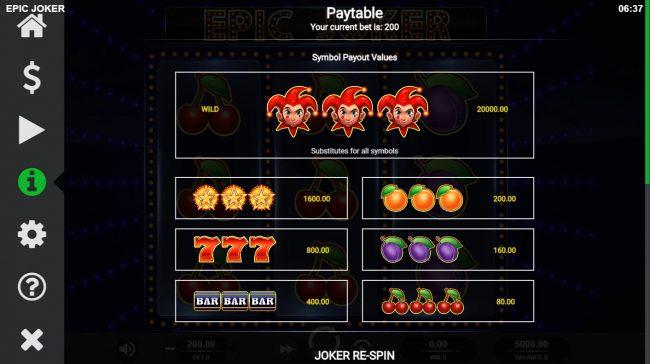 Epic Joker :: Paytable