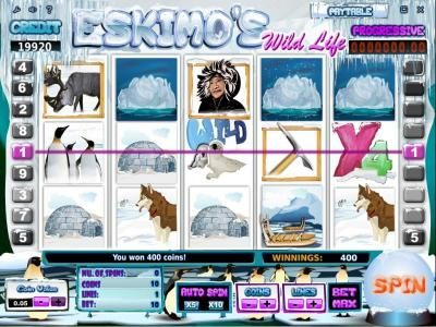 Joe Fortune featuring the Video Slots Eskimo's Wild Life with a maximum payout of Jackpot