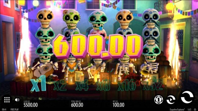 Melbet featuring the Video Slots Esqueleto Explosivo with a maximum payout of $8,000