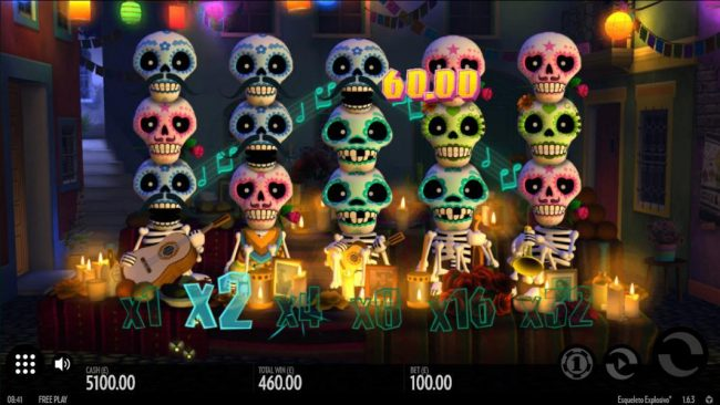 Betchan featuring the Video Slots Esqueleto Explosivo with a maximum payout of $8,000