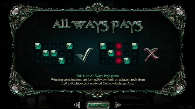 QAll Ways Pays. Winning combinations are formed by symbols on adjacent reels from left to right, except scattered coins, which pay any.