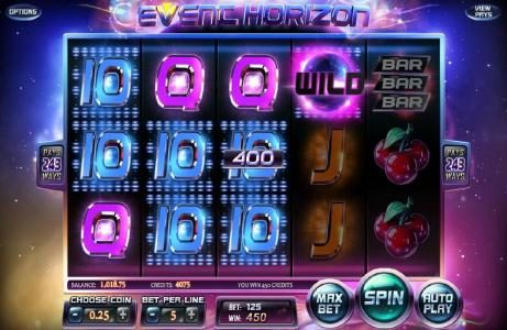 007 Slots featuring the Video Slots Event Horizon with a maximum payout of $180,000