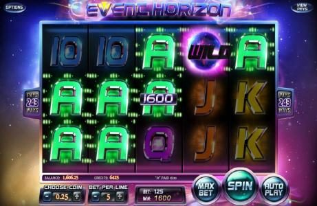 Top Bet featuring the Video Slots Event Horizon with a maximum payout of $180,000