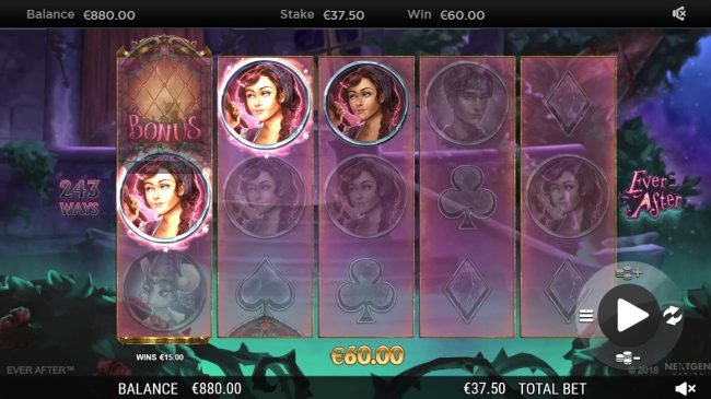 Videoslots featuring the Video Slots Ever After with a maximum payout of $182,250