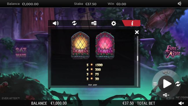 Secret Slots featuring the Video Slots Ever After with a maximum payout of $182,250