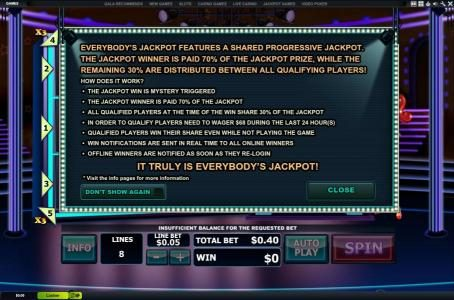 Fly Casino featuring the Video Slots Everybody's Jackpot with a maximum payout of Jackpot