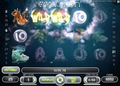 Evolution :: wild symbols triggers multiple winning paylines for a 75 coin jackpot