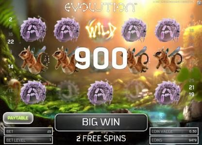 two five of a kinds triggers a 900 coin big win payout