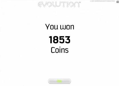 Evolution :: free spins bonus feature pays out 1853 coins