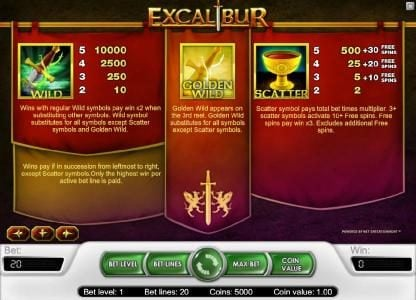 Lord of the Spins featuring the Video Slots Excalibur with a maximum payout of $40,000