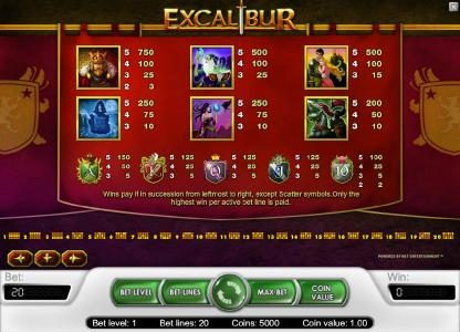 Free Spins featuring the Video Slots Excalibur with a maximum payout of $40,000